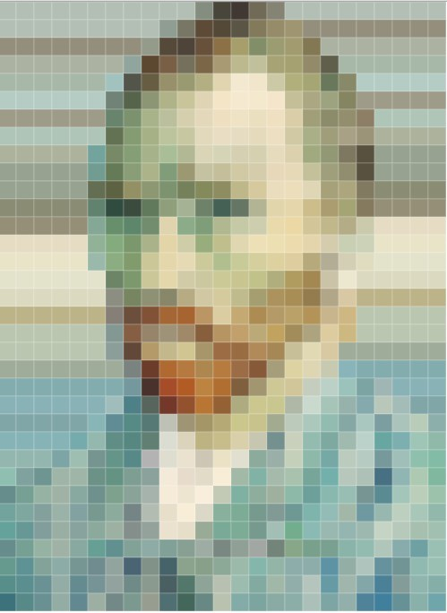 동일한 크기, 서로 다른 색상의 사각형을 활용해 반 고흐의 자화상을 그렸다.