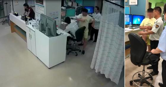 전북 익산의 한 병원 응급실에서 의사를 폭행하는 환자 임모씨. 오른쪽 사진은 경찰 출동 뒤에도 의자를 발로 차며 저항하는 임씨의 모습 [대한의사협회 제공 영상 캡처]