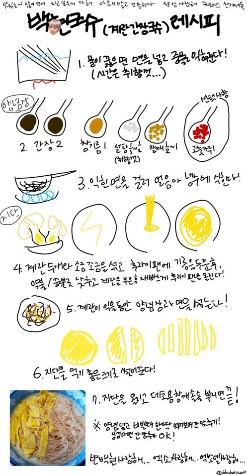 The fan who got a reply from Baekhyun uploaded a drawing of her recipe for 'Baekhyun Noodle', Photo from Twitter @B_hundred_Hyun