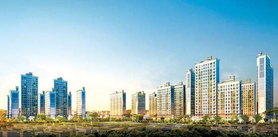 단지 안에 1만 그루의 편백나무 숲이 조성될 예정인 서울대입구역 힐링스테이트 투시도.
