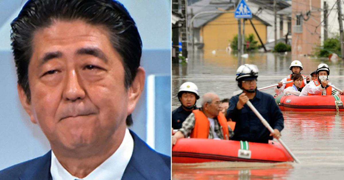 아베 일본총리(왼쪽)이 서일본 지역에 폭우가 쏟아진 날 여당 의원들과 술자리를 가져 구설에 올랐다. 보트를 타고 구조되고 있는 일본 서남부 구라사키 주민들(오른쪽) [UPI=연합뉴스, AP]