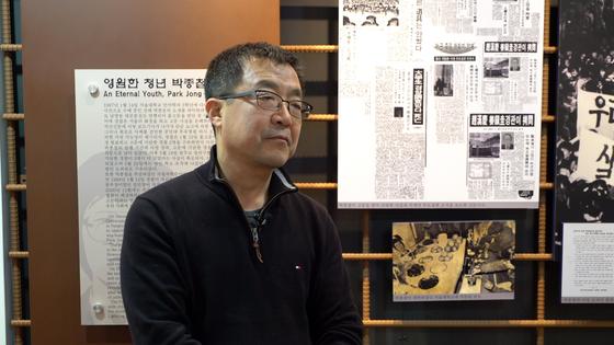 남영동 옛 대공분실 4층 박종철 기념관에서 이야기하는 고 박종철 열사의 형 박종부(60)씨.