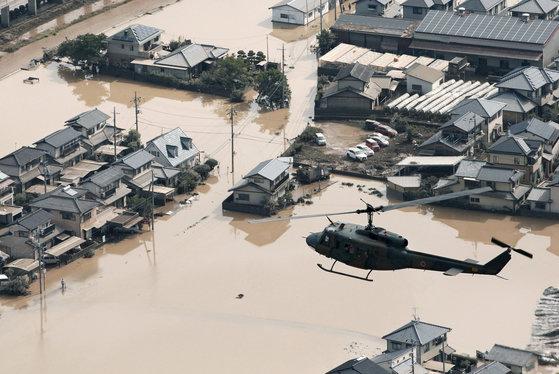 폭우 피해를 입은 일본 오카야마현 구라시키 지역.[교도=연합뉴스]