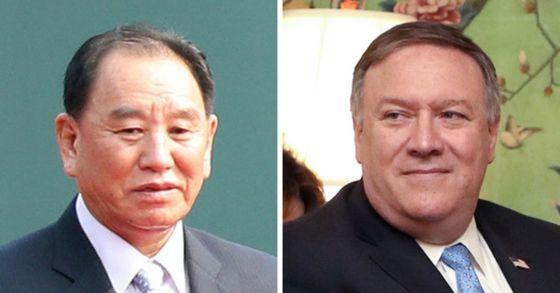 김영철 북한 노동당 부위원장(왼쪽)과 폼페이오 미 국무장관 [연합뉴스]