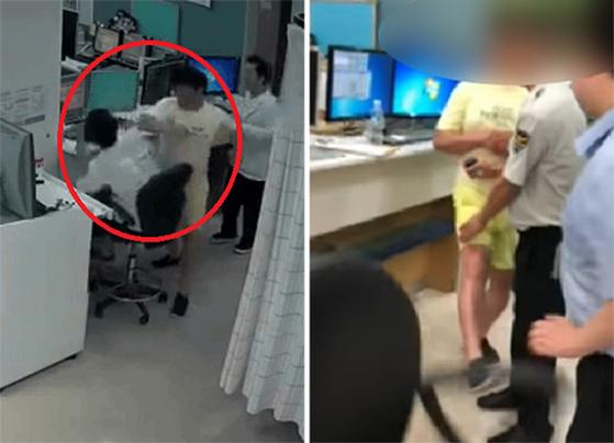 """지난 1일 전북 익산의 한 병원 응급실에서 술에 취한 40대 남성이 손가락 골절 치료를 받으러 왔다가 의사를 폭행하고 있다. 그는 의사가 웃음을 보였다는 이유로 '내가 웃기냐""""며 주먹을 휘둘렀다. 청원경찰이 출동한 뒤에도 욕설을 하면서(오른쪽 사진) '죽이겠다""""고 협박했다고 한다. [연합뉴스]"""