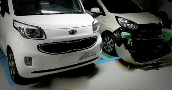 대전 동구 한 아파트 주차장에서 초등학교 3학년 A군이 엄마의 아반떼 차량으로 주차된 차량 10대를 들이받아 차량이 파손돼 있다. A군은 이날 오전 왕복 7㎞를 운전한 것으로 조사됐다. [사진 대전지방경찰청]