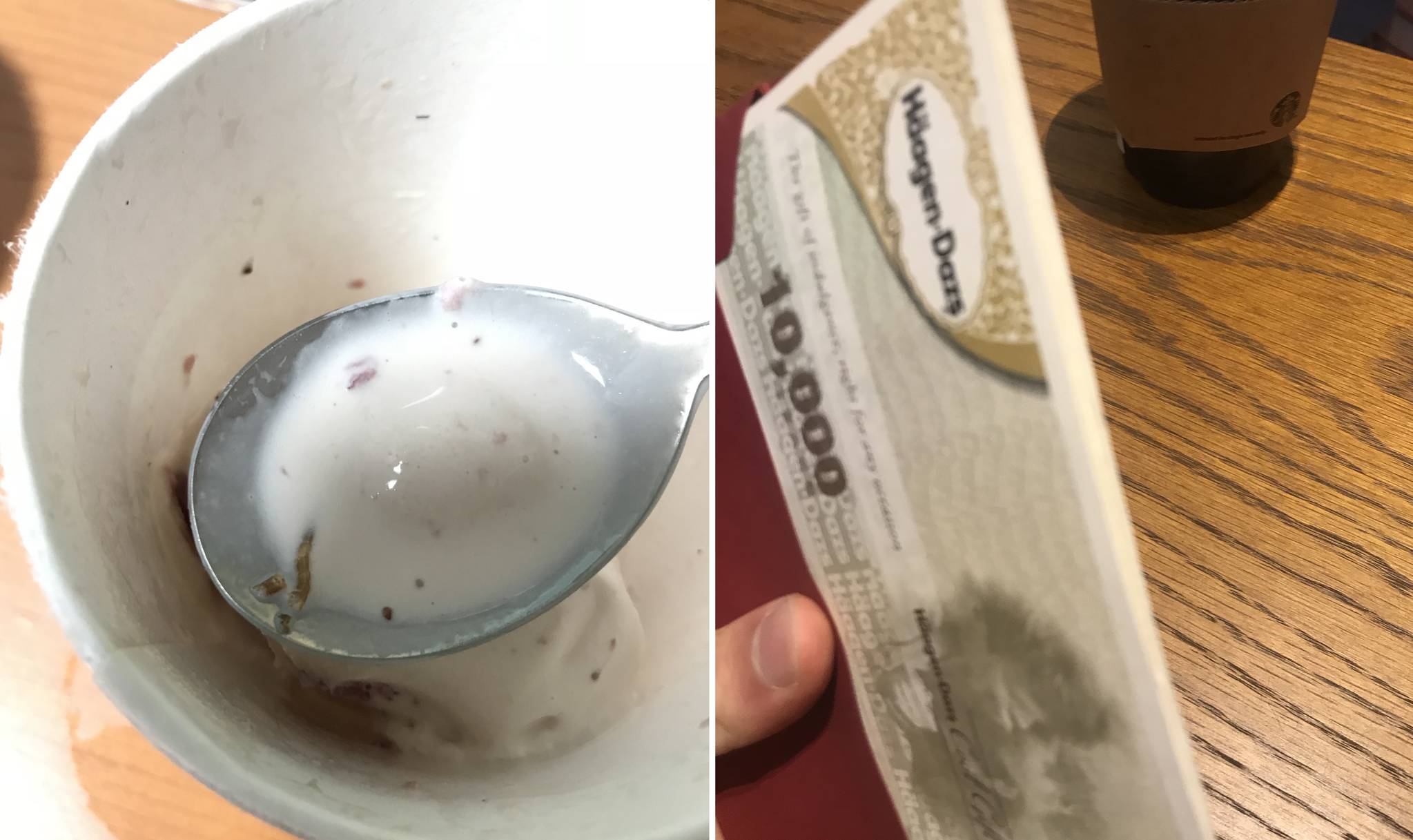 하겐다즈 스트로베리 아이스크림 속 애벌레(왼쪽)와 소비자에게 한국하겐다즈가 제시한 상품권. [뉴스1]