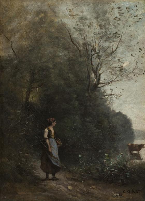 장바티스트 카미유 코로의 '소에게 여물을 먹이는 소녀'. 캔버스에 유채. 1865~1870/ [사진 예르미타시박물관]