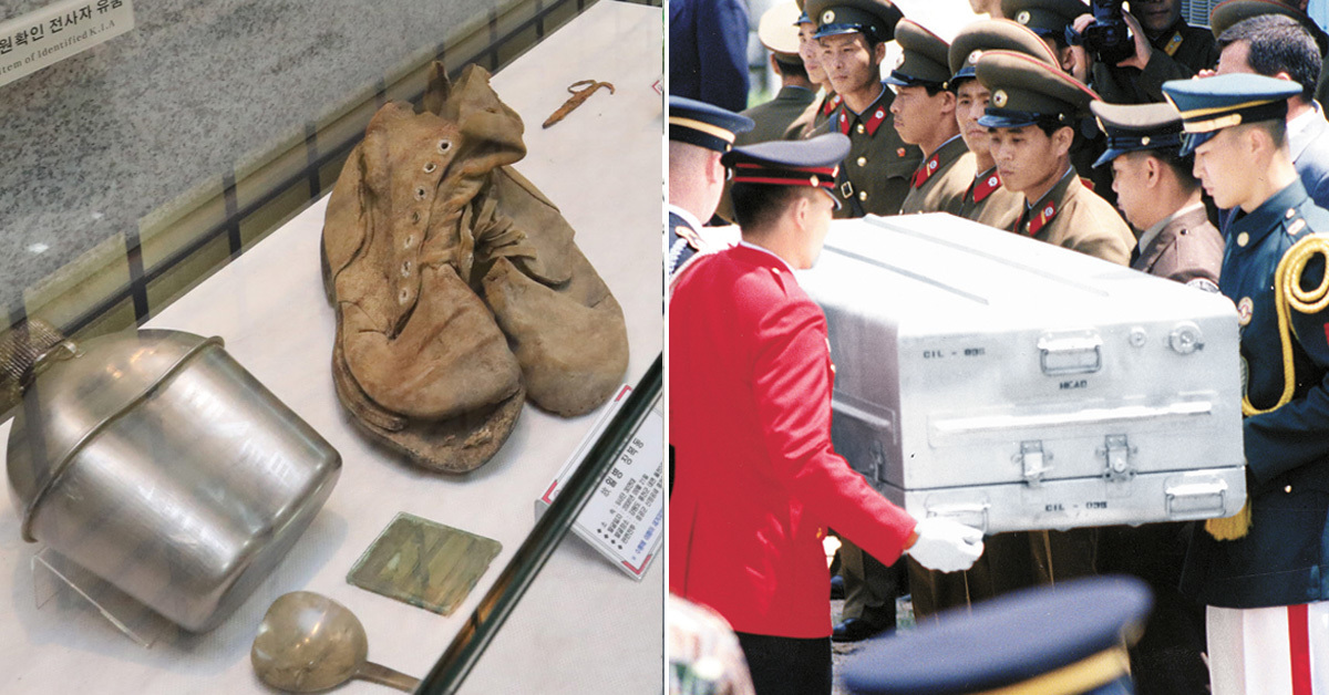 서울 동작구 국방부 유해발굴감식단에 전시된 한국전쟁 당시 사망한 미군 전사자의 유품(왼쪽). 오른쪽 사진은 북한지역에서 사망한 미군 유해가 1996년 발굴돼 판문점을 통해 송환되는 모습 [중앙포토, 연합뉴스]