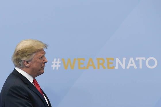 11일 벨기에 브뤼셀에서 열린 나토정상회의에 참석한 트럼프 미 대통령. [EPA=연합뉴스]