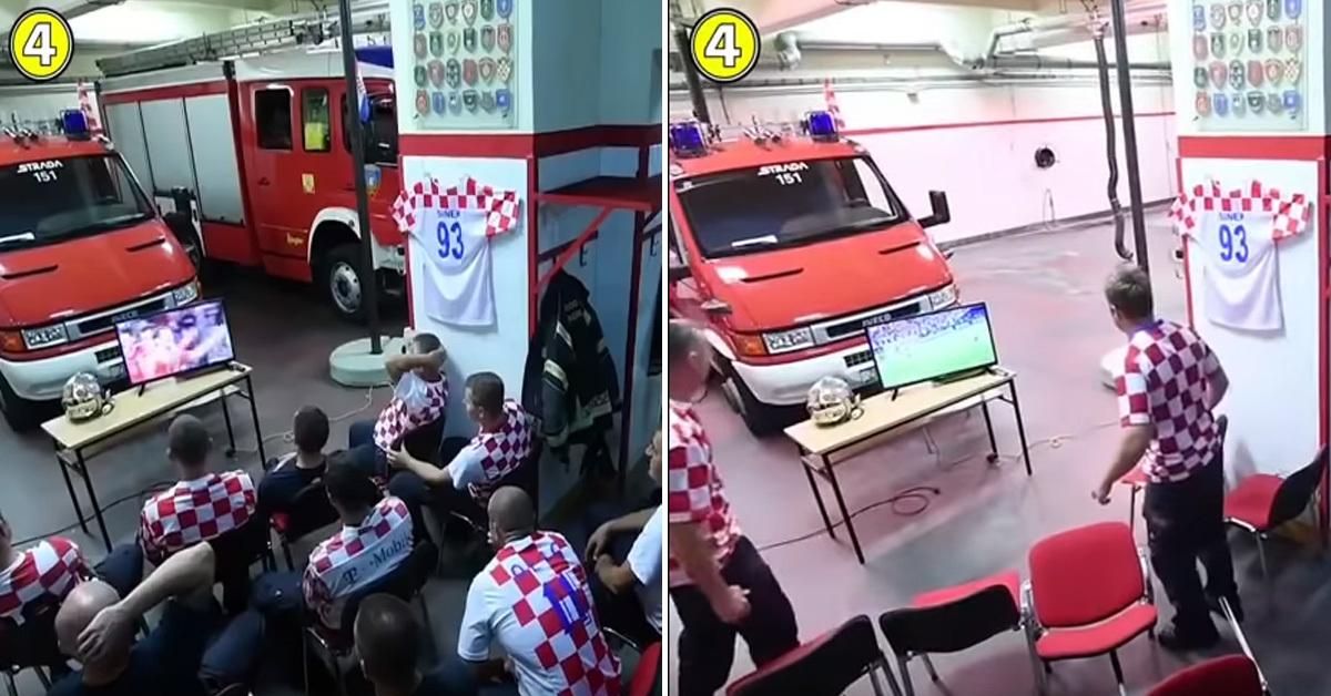 크로아티아가 러시아와 8강전을 치르던 시각, 소방벨이 울리자 경기를 지켜보던 소방관들이 22초 만에 사라졌다 [유튜브 캡처]