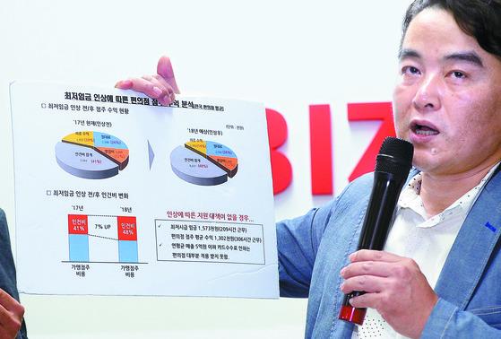 성인제 전국편의점가맹점협회 공동대표가 12일 오후 서울 중소기업중앙회에서 최저임금 인상에 따른 편의점주들의 수익 분석표를 설명하고 있다. [뉴스1]