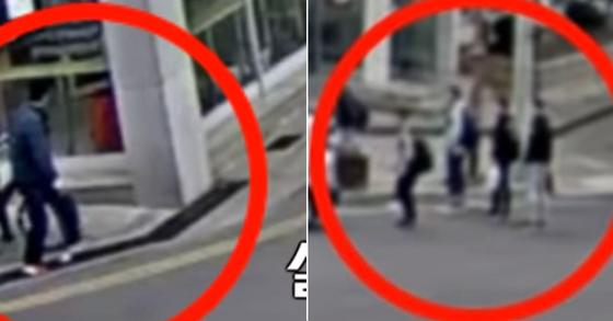 한 남성이 할머니 지갑을 낚아채는 순간(왼쪽)과 할머니의 다급한 목소리를 들은 이용 선수 일행(오른쪽) [경찰청 공식 유튜브 캡처]