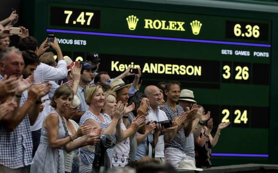 2018 윔블던 남자단식 준결승전 케빈 앤더슨과 존 이스너의 경기는 5세트 게임스코어가 26-24로 접전이었다. [AP=연합뉴스]