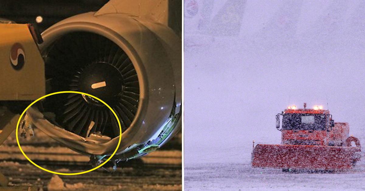 2016년 1월 25일 파손된 상태로 발견된 대한항공기 엔진(왼쪽)과 같은날 오전 제주항공 상황(오른쪽). 당시 제주도는 폭설로 항공기 운항이 사흘간 중단됐다. [연합뉴스, 한라일보]