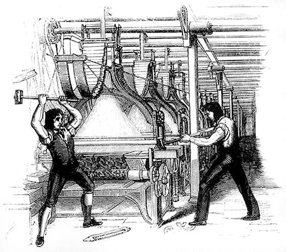 러다이트 운동. 19세기 초반 영국에서 있었던 사회 운동으로 일자리를 뺏긴 노동자들이 기계를 파괴한 사건이다. [사진 WIKIMEDIA COMMONS]