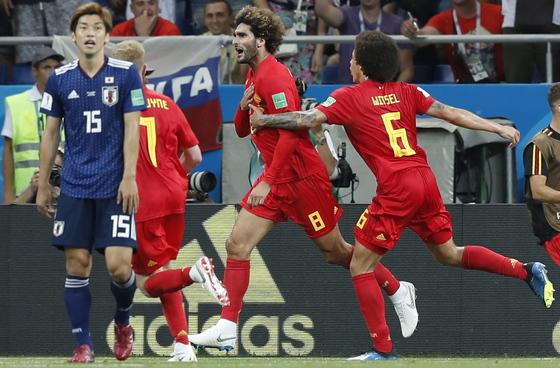 3일 열린 러시아 월드컵 16강 일본과의 경기에서 후반 동점골을 터뜨린 벨기에의 마루앙 펠라이니. [EPA=연합뉴스]