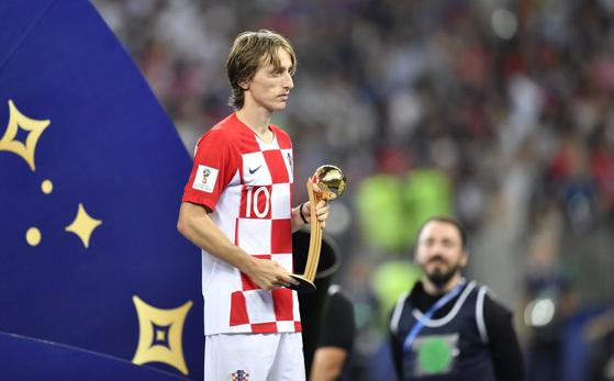 러시아 월드컵 시상식에서 골든볼을 수상한 크로아티아의 루카 모드리치. [AP=연합뉴스]