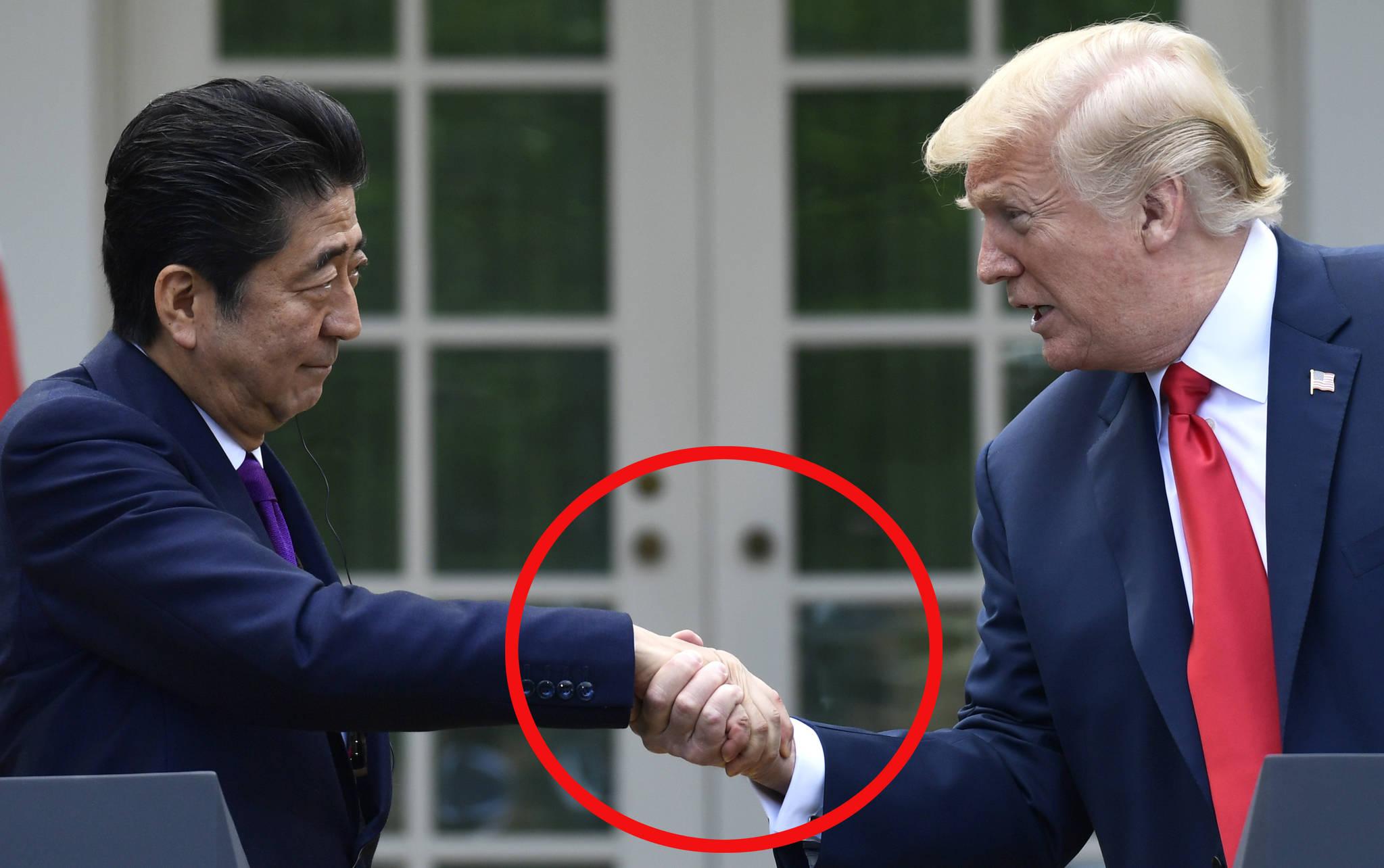 도널드 트럼프 미 대통령과 아베 신조 일본 총리가 지난 6월 7일 워싱턴 백악관 로즈 가든(Rose Garden)에서 열린 기자 회견에서 악수 나누는 장면.[AP=연합뉴스]