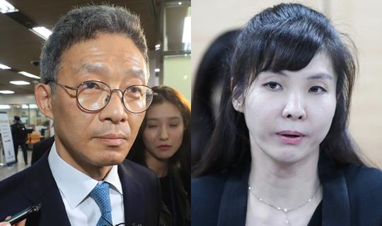 16일 서지현(오른쪽) 검사가 안태근 전 검찰국장 재판에 증인으로 출석했다. 서 검사가 지난 1월 JTBC에 출연해 성추행 피해를 폭로한 이후 처음으로 같은 법정에 서게 됐다. [중앙포토]