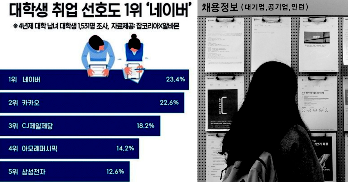 대학생이 가장 취업하고 싶은 기업 1위로 '네이버'가 꼽혔다. [사진 잡코리아·알바몬, 뉴스1]