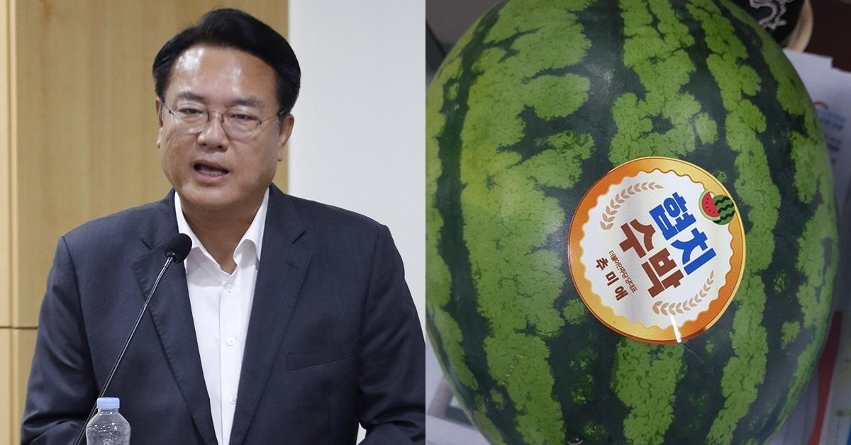 자유한국당 정진석 의원(왼쪽)이 공개한 더불어민주당 추미애 대표가 보낸 '협치 수박'. [뉴스1·정 의원 페이스북]
