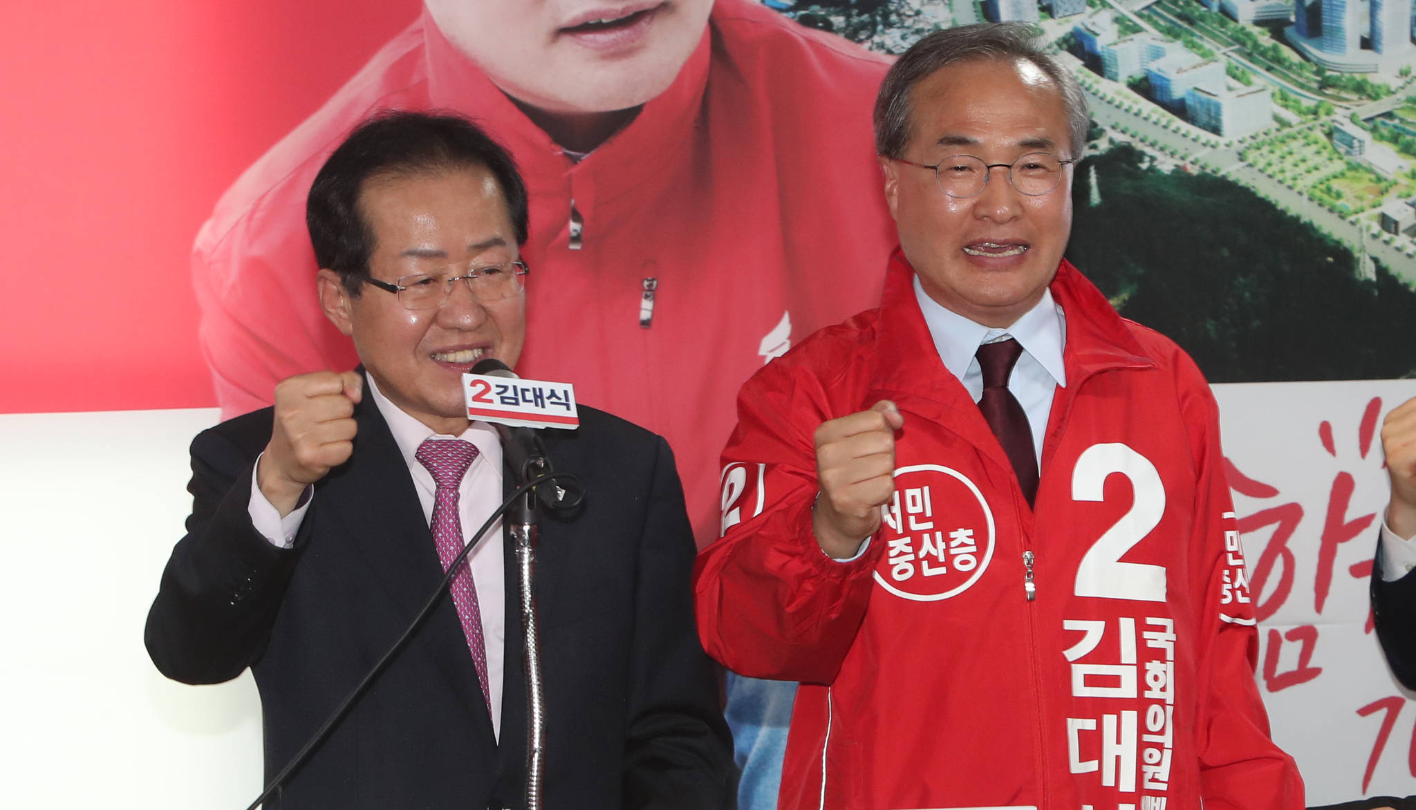 지난 6.13 지방선거에서 해운대구을 재보선에 출마한 김대식 여의도연구원장(오른쪽).