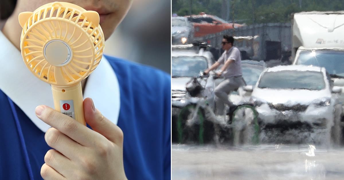 전국 대부분 지역에 폭염특보가 내려진 16일 오후 한 시민이 휴대용 선풍기를 사용하는 모습(왼쪽)과 서울 여의대로에 지열로 인해 아지랑이가 피어오른 모습(오른쪽) [뉴스1, 중앙포토]