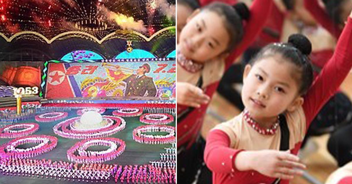 지난 2013년 정전 60주년을 맞아 열린 북한 대규모 집단체조인 '아리랑' 공연(왼쪽)과 지난 4월 북한을 방문한 태권도 시범단 일행이 마난 만경대소년학생궁전의 체조 하는 북한 어린이들(오른쪽) [연합뉴스]