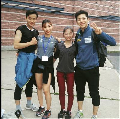 8월 캐나다에서 훈련한 남북한 피겨 페어 선수들. 왼쪽부터 김주식(북), 김규은, 염대옥(북), 강감찬.