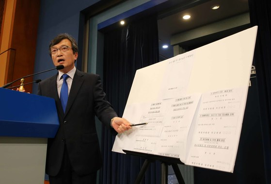 김의겸 청와대 대변인이 20일 춘추관 브리핑룸에서 군으로부터 입수한 기무사의 계엄문건을 공개하고 있다. 청와대 사진 기자단