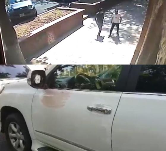 데니스 텐 피습 괴한이 CCTV에 포착된 모습과 백미러 거울이 떨어져 나간 그의 차량 [사진 유튜브 화면 캡처]