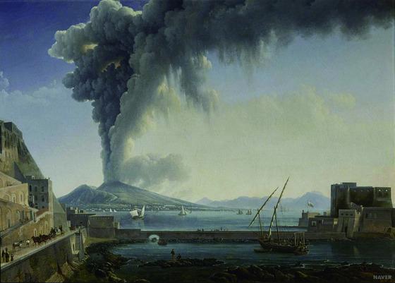 알렉상드르 이아생트 뒤누에 '베수비오 산의 분화'(1813, Eruption du Vesuve en) 루이 18세가 소장했던 그림. 1813년 또 한 번 발생한 베수비오 화산 폭발을 그렸다. 베수비오 화산은 당시 나폴리를 여행하던 화가들을 매료시켰다. 특히 18세기 이후 폼페이 유적 발굴이 본격화되면서 큰 관심의 대상이 됐다. [중앙포토]