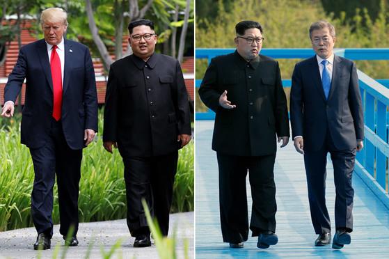 미국 도널드 트럼프 대통령과 북한 김정은 국무위원장이 6월 12일(현지시간) 싱가포르 센토사 섬 카펠라 호텔에서 업무오찬을 마친 뒤 산책하고 있다.   오른쪽 사진은 지난 4월 27일 도보다리에서 산책 중인 문재인 대통령과 김 위원장. [연합뉴스]