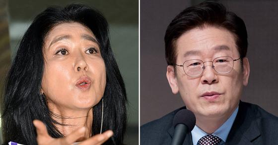 배우 김부선과 이재명 경기지사. [중앙포토]