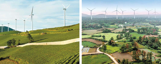 한국중부발전은 ESS를 연계한 수상태양광과 산업단지 지붕태양광 사업을 추진한다. 사진은 매봉산풍력단지(왼쪽)와 상명풍력단지 모습. [사진 한국중부발전]