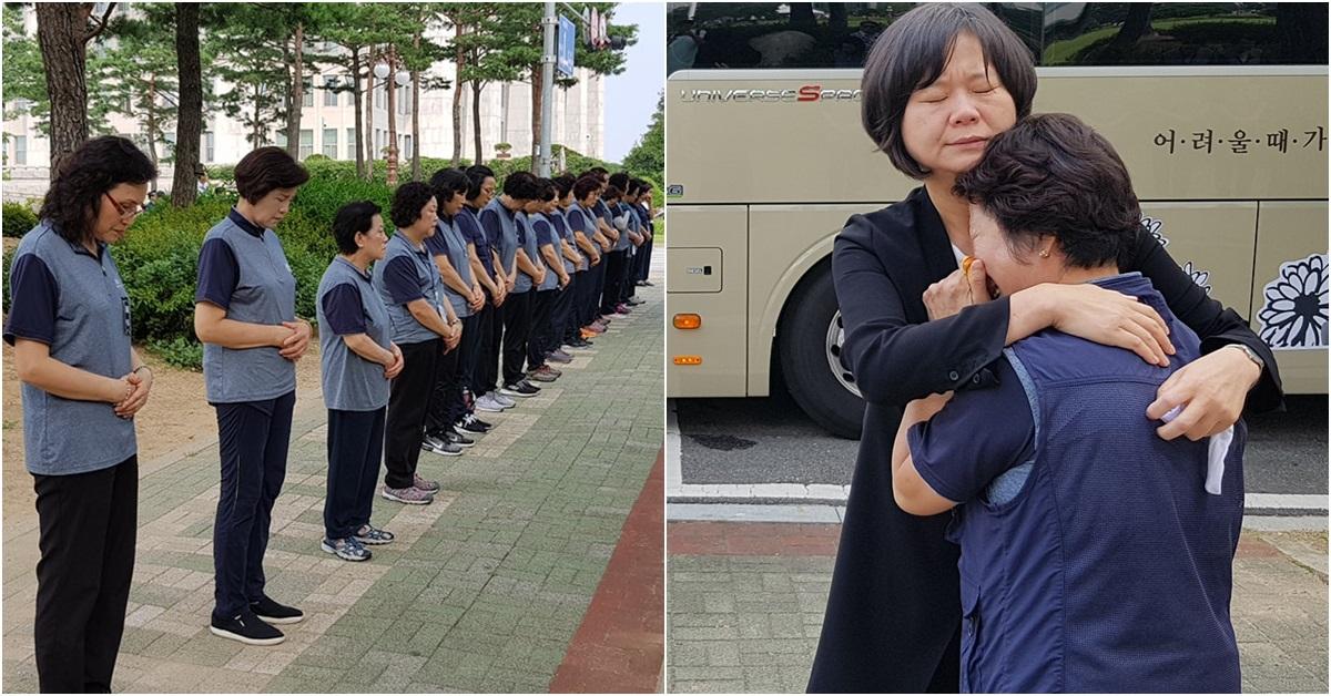 27일 오전 국회 본청 앞쪽에서 국회 여성 청소근로자들이 줄을 서 있다.(왼쪽) [사진 민주노총 페이스북]