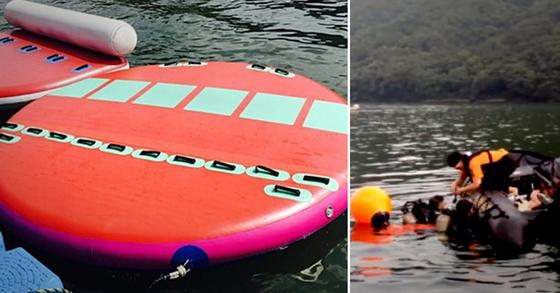수상레저의 일종인 일명 '호떡 보트'(왼쪽 사진)와 119 수난구조대의 수색 장면. [연합뉴스, 경기도소방재난본부]