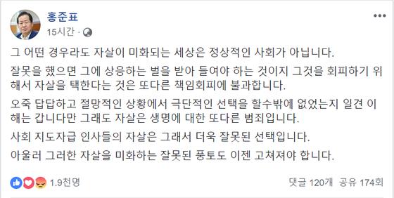 """홍준표 전 자유한국당 대표가 28일 자신의 페이스북에 """"자살은 책임회피""""라는 내용의 글을 올렸다. [페이스북 캡쳐]"""