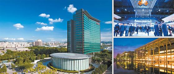 화웨이는 공격적인 R&D 투자와 특유의 기업문화를 토대로 글로벌 기업으로 성장했다. 사진은 화웨이 선전 본사 전경, MWC 2018 화웨이 부스, 화웨이의 상해 R&D센터 전경.(왼쪽부터 시계 방향) [사진 화웨이]