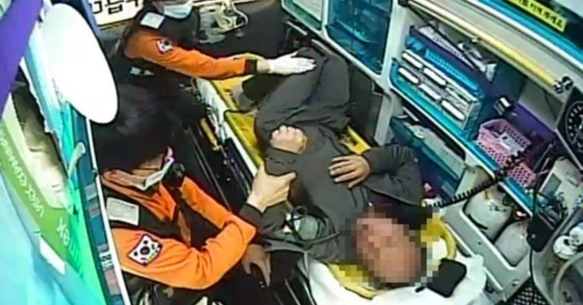 지난 5월 전북 익산에서 발생한 주취자의 구급대원 폭행. [사진 익산소방서]