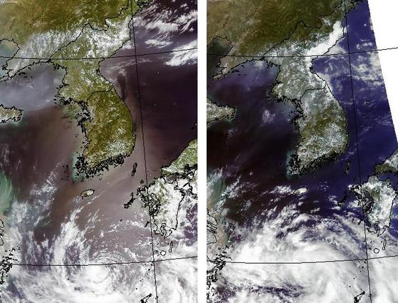 폭염을 가린 구름. 지난 1일 오후 1시 26분 미 항공우주국(NASA)의 아쿠아 위성이 촬영한 한반도 사진에서는 구름이 거의 없지만(왼쪽), 2일 오후 2시 9분에 촬영한 사진에서는 전국 곳곳에 엷은 구름이 끼여 있는 것을 볼 수 있다. 사진 아랫 부분의 소용돌이 구름은 제12호 태풍 종다리가 약화해 남은 열대저압부의 모습이다. [사진 기상청]