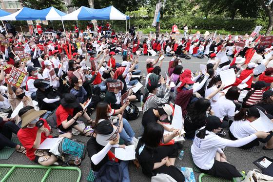 지난달 7일 불법촬영 편파수사 규탄시위에 모인 참가자들. [뉴스1]