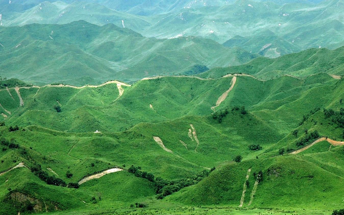 비무장지대 북쪽 북한 강원도 평강군의 산림 황폐화 모습. [사진 녹색연합]