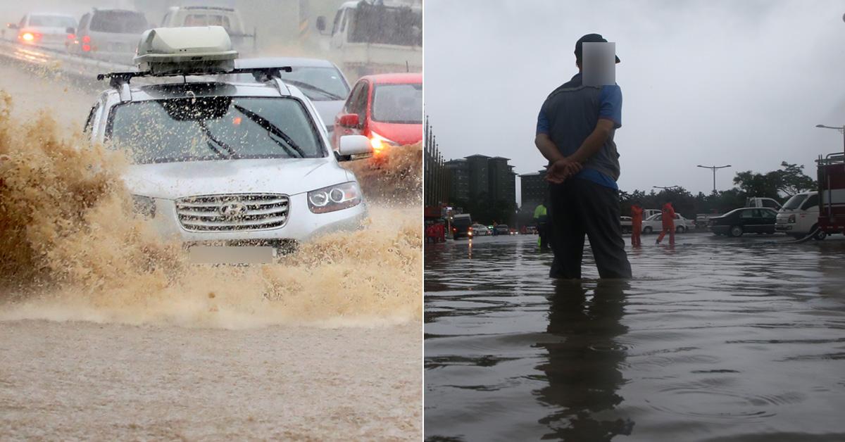 기록적인 폭우가 쏟아진 6일 강원 강릉시 시내 도로(왼쪽)와 경포해수욕장 인근 진안 상가(오른쪽) [뉴스1, 연합뉴스]