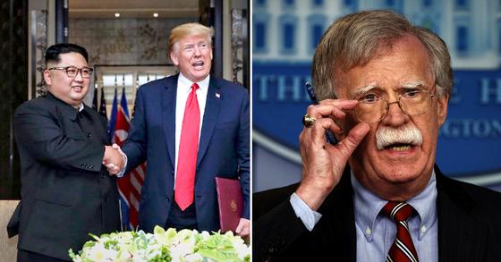 북한이 9일 외무성 대변인 담화를 통해 존 볼턴 미 백악관 국가안보보좌관 등 미국 대북 강경파를 견제했다. [AP=연합뉴스]