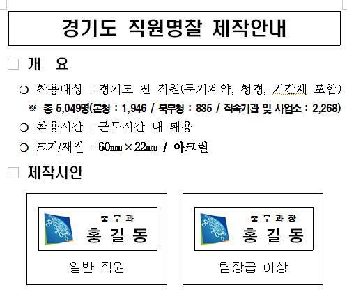 명찰 패용에 대한 경기도 공람 자료. [연합뉴스]