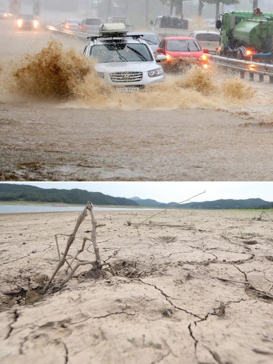 6일 강원 강릉시에 호우경보가 내려 도로가 침수된 반면 전남 나주호는 연일 이어진 폭염으로 인해 바닥이 갈라진 채 바닥을 드러내고 있다. 이날 강릉 지역엔 태풍에 버금가는 기록적인 폭우가 쏟아졌지만 내륙지역은 찜통같은 더위가 이어져 극명한 대비를 이뤘다. 2018.8.6/뉴스1