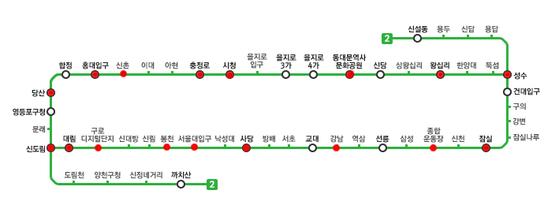 서울 지하철 2호선 노선도