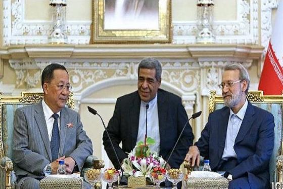 9일(현지시간) 이란 테헤란에서 알리 라리자니 이란 의회 의장을 만나 북미 간 비핵화 협상 경과를 설명하고 있는 이용호 북한 외무상(왼쪽). [MNA 뉴스 캡처]
